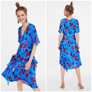 ZARA Blue Floral Printed dress with frills